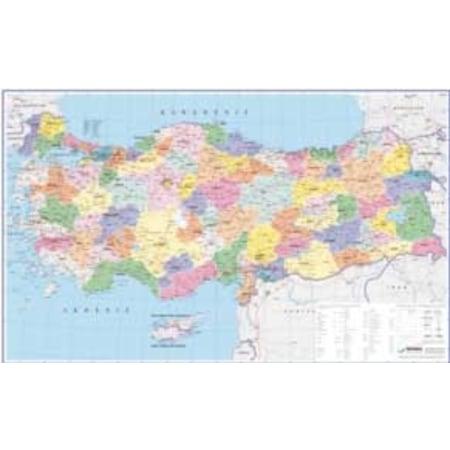 Gürbüz Türkiye Siyasi Harita 70100 Cm çift Taraflı çıtalı N11com