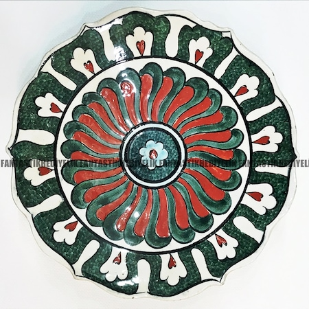 Küçük Boy Osmanlı Kütahya çini El çizimi Boyama Tabak Duvar Süsü