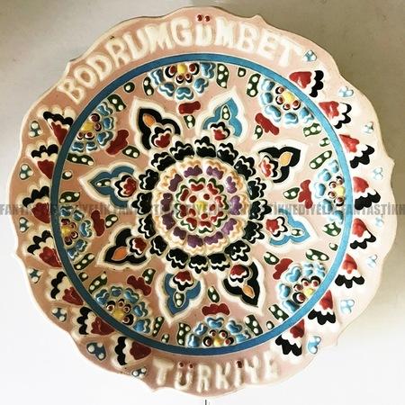 Orta Kütahya çini El Işi Boyama Bodrum çiçek Kabartma Tabak Duvar