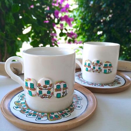 Taş Boyama Begonvil Kahve Fincanı 2 Li Set N11com
