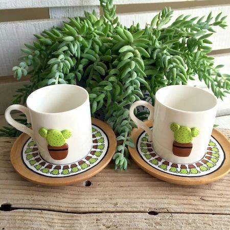 Taş Boyama Kaktüs Kahve Fincanı 2 Li N11com