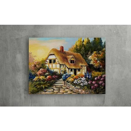 Bahçeli Ev Yağlı Boya Kanvas Tablo 70x50 N11com