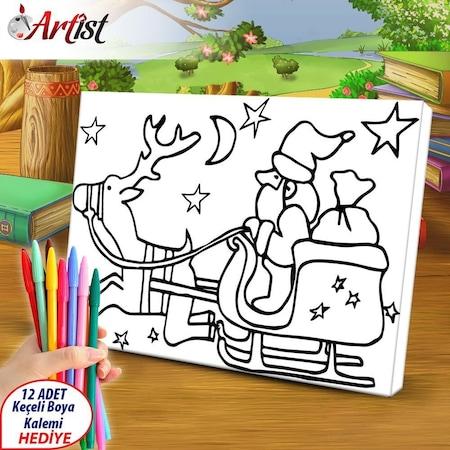 çocuklar Için Yılbaşı Noel Baba Geyik Kanvas Boyama Eğitim Ta