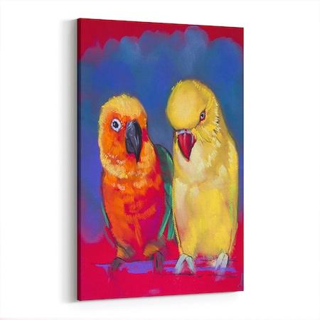 Yağlı Boya Görünümlü Papağan Ve Kanarya Kanvas Tablo N11com