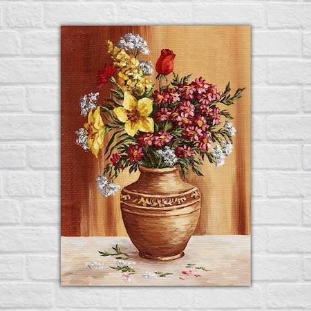 Yağlı Boya Vazo çiçekleri Kanvas Tablo N11com
