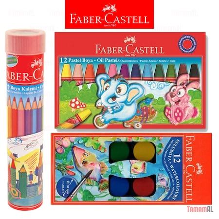 Faber Castell 12 Renk Kuru Sulu Pastel Boya Seti 3 Lü Takım