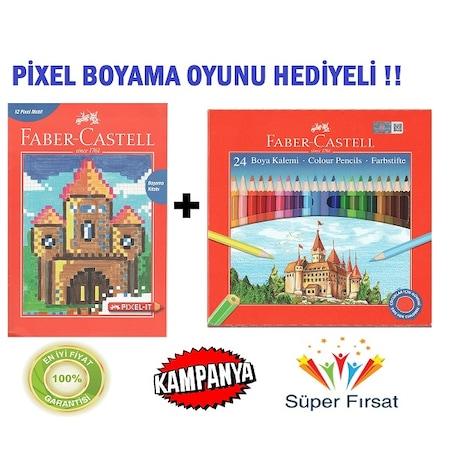 Faber Castell 24lü Kuru Boya Pixel Oyunu Boyama Kitabı N11com