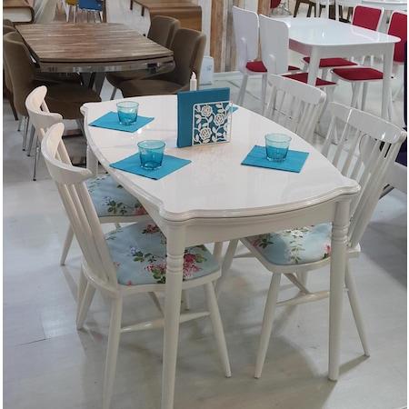 Mutfak Masa 4 Adet Sandalye Takımı Lake Boya N11com