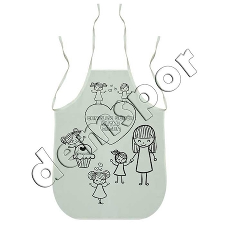 Anneler Günü Temalı Mutfak Boyama önlüğü Tema 2 N11com