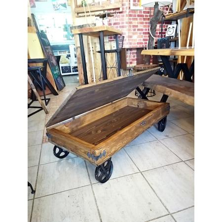 Ahsap Tekerlekli Sandik Orta Sehpa Rta48