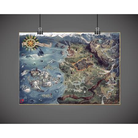 The Witcher 3 Wild Hunt Vahşi Av World Map Dünya Haritası Poster