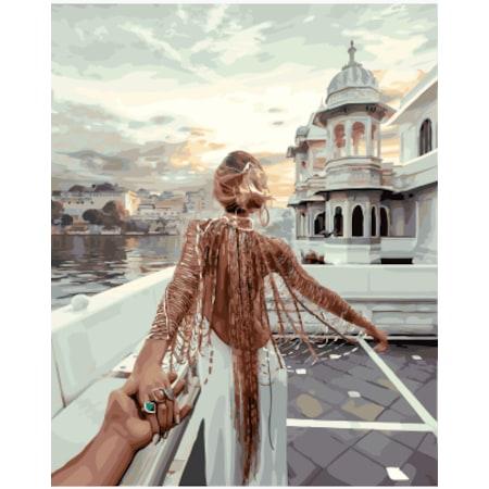 Beyaz Elbiseli Kadın 40x50 Cm çerçeveli Numaralı Boyama Seti N11com
