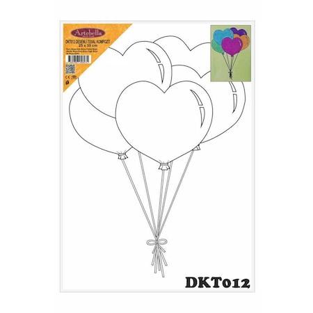 Desenli Tuval Kompozit Boyama Seti Kalpli Balonlar N11 Com