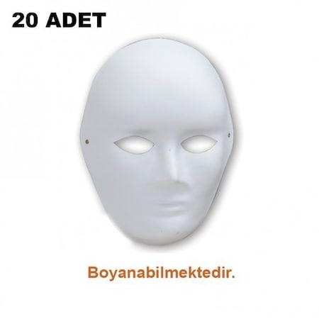 20 Adet Karton Maske Lastikli Boyanabilir Maske Boyama Maskesi