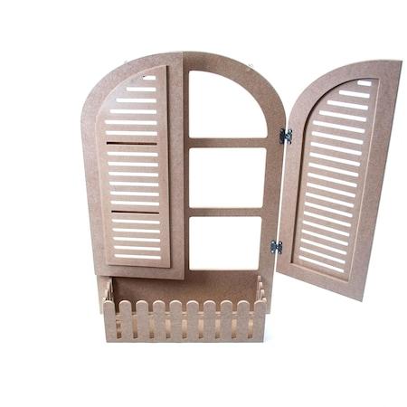Ahşap Hobi Boyama Küçük Boy Oval Kör Pencere 40x55x13cm