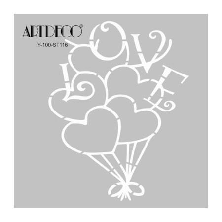 Artdeco Stencil Boyama Sablonu 30x30 Cm 116 Kalp Balon