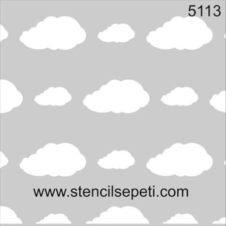 Bulutlu Duvar Deseni Stencil Boyama şablonu N11com