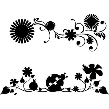 çiçekli Böcekli Desen Stencil Boyama şablonu N11com