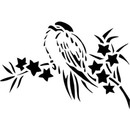 Daldaki Kuş Stencil Boyama şablonu N11com