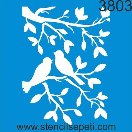 Daldaki Kuşlar Stencil Ahşap Boyama şablonu N11com