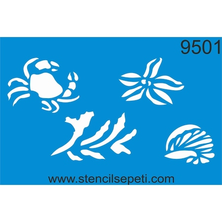 Deniz Canlıları Stencil Boyama şablonu N11com