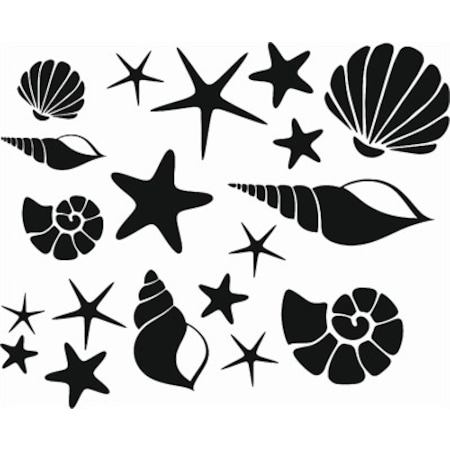 Deniz Kabukları Stencil Boyama şablonu N11com