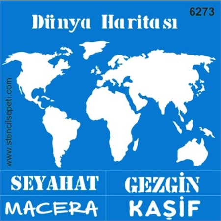 Dünya Haritası Stencil Boyama şablonu N11com