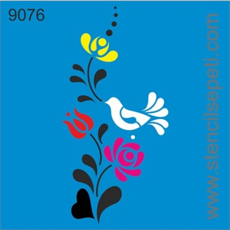 Güvercin Ve çiçekler Stencil Boyama şablonu N11com