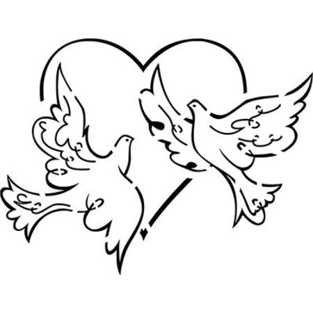 Kalp Ve Güvercinler Stencil Boyama şablonu N11com