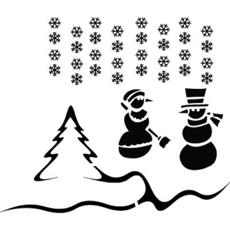 Kar Kış çam Ağacı Stencil Boyama şablonu N11com