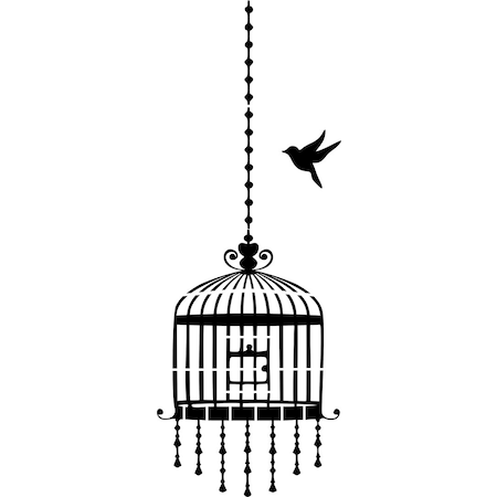 Kuş Ve Kafes Stencil Boyama şablonu N11com