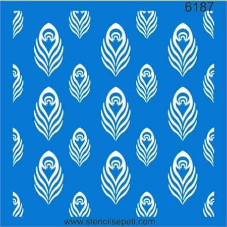 Tavuskuşu Tüyü Stencil Boyama şablonu N11com
