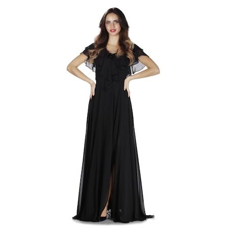d55cbd97ac9a3 6ixty8ight Siyah Bel Drapeli Şifon Uzun Abiye Elbise - n11.com