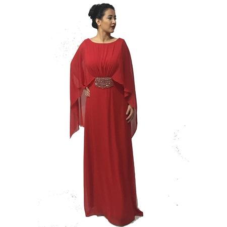 4cf5d2e77c99a Abiyesultan Şifon Kırmızı Uzun Abiye Elbise - n11.com