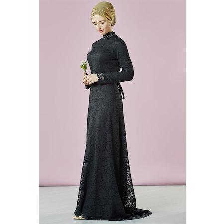 5739c4d14eae1 Armine Dantel Detaylı Abiye Elbise-siyah 7ya10035-01 - n11.com