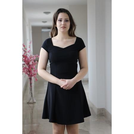 8e9e3f40b4914 Bayan Siyah Kloş Elbise Kenarlı Yaka Kısa Kol Abiye - n11.com