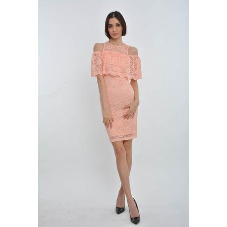 9f149d79f31f0 Polo Flov Pudra Omuzları Açık Güpür Kadın Kısa Abiye Elbise - n11.com