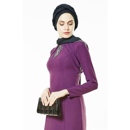 bfdf211b4f843 Fashion Night Omuz Detaylı Abiye Elbise-mürdüm 2230-51 - n11.com