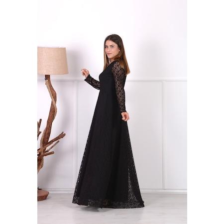 de9d3a20fceb7 Full Dantel Tasarım Abiye Elbise - Siyah - n11.com
