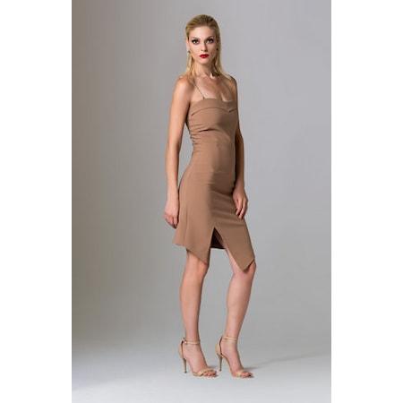 79b050002c302 Camel Rengi İp Askılı Kısa Kokteyl Elbisesi - n11.com