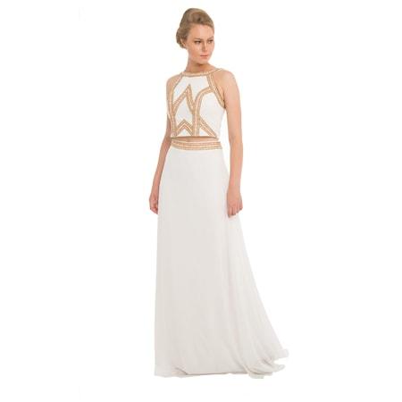 02f5430e8092f Pierre Cardin Ekru Taşlı Büstiyer Takım Abiye Elbise - n11.com