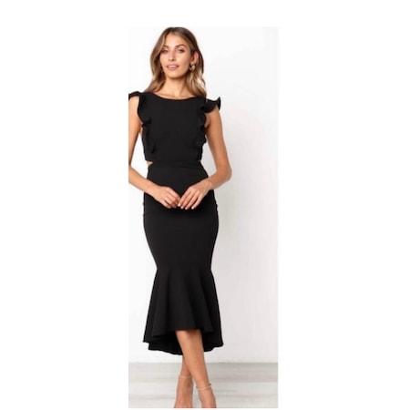 3ba0645eeeeff Sırt Detaylı Etek Volanlı Muhteşem Siyah Abiye Elbise - n11.com