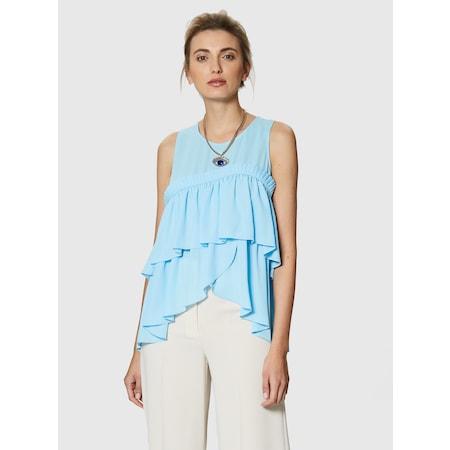 9a74d0bb0624b Roman Fırfır Detaylı Mavi Kadın Bluz - n11.com