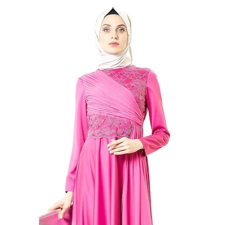 904352dc0024a Armine Dantelli Abiye Elbise-fuşya 5yb9767-1610 - n11.com