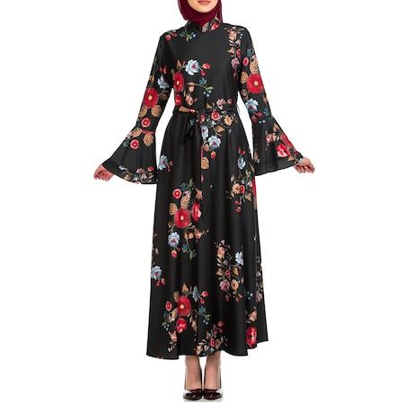194eb93a5e949 Kolu Volanlı Çiçekli Elbise Gel 3001 01 3034 Siyah - n11.com