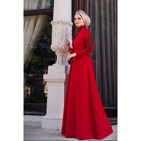 906abeb79a1b2 Muslima Wear Mehendi Kırmızı Tesettür Elbise - n11.com