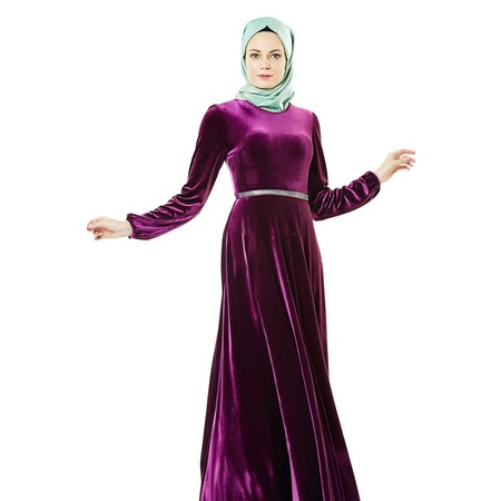 e0bb8b07dcc3d Nassah Kadife Taşlı Kemerli Elbise-mürdüm Lr8281-51 - n11.com