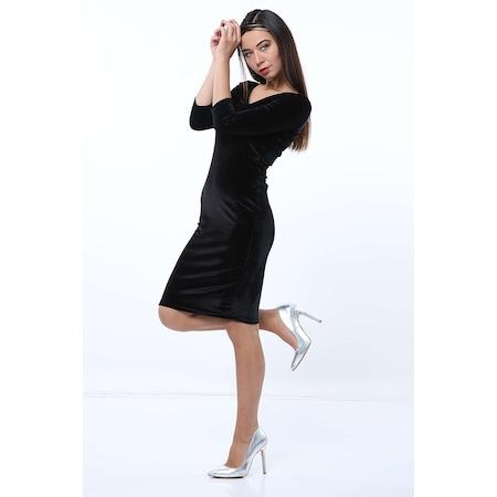 3d569146acee4 001146 Lukas Kadın Ön Arka V Yaka Siyah Kadife Elbise - n11.com