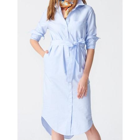 0f0b4d825305c 2051 Kalın Kumaş Gömlek Elbise-mavi - n11.com