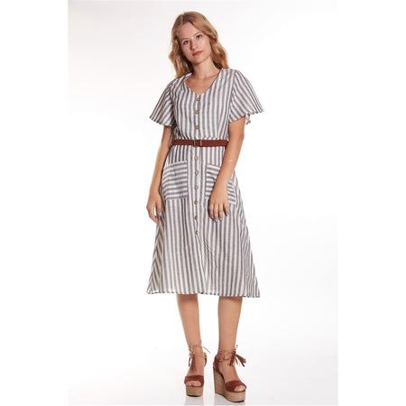 dd99cabf2e679 Bayan Çizgili Düğmeli Kemerli Diz Altı Siyah-beyaz Elbise - n11.com